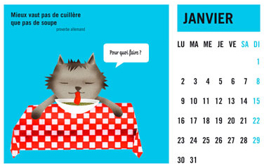 olga-olga illustrations calendrier courrier janvier